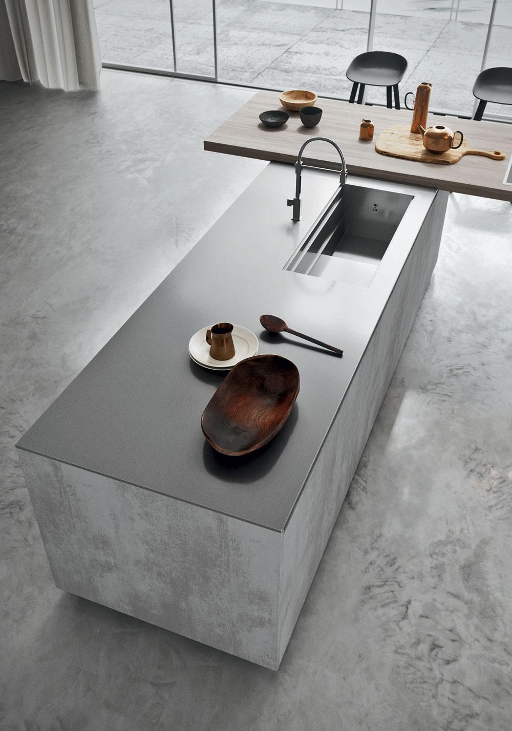Cucina moderna effetto cemento grezzo