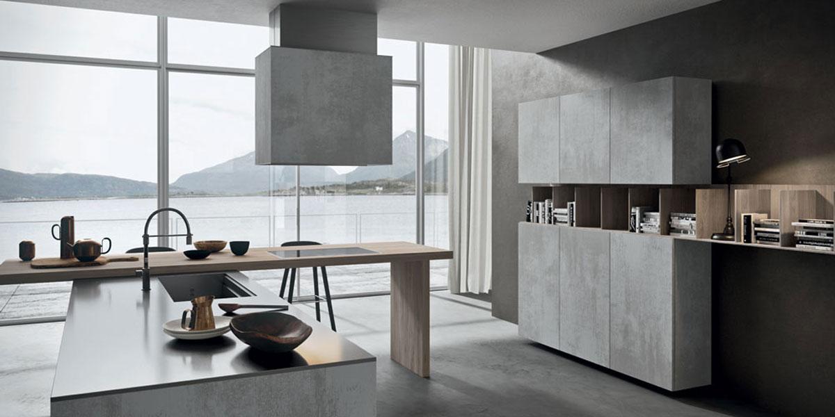 Cucina moderna effetto cemento grezzo - Cucine in cemento ...